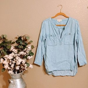 Cloth & Stone Anthropologie Chambray Top Sz M